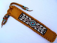 Native American Beaded Bracelet on Deerskin by TribalVibesLeather, $58.00