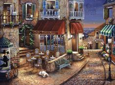 Café Romantique is a 1500 piece jigsaw puzzle from Perre. Belle Image Nature, Murals Your Way, Cafe Art, Anime Comics, Naive, Painting Inspiration, Scenery, Art Gallery, Illustration Art