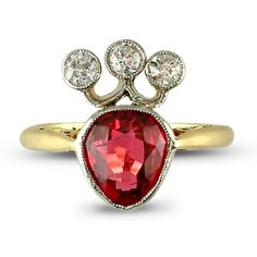 Antique diamond and spinel coronet ring, the central old-cut spinel weighing 1.35cts with brilliant-cut diamond three-stone surmount, plain gold hoop