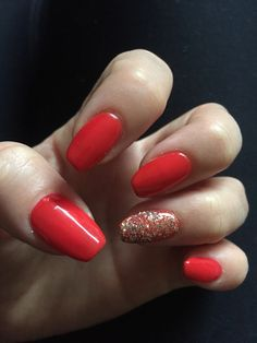Red Nails With Gold Glitter Ring Finger
