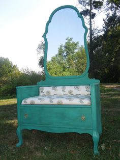 Mirror Hall Tree Bench with Drawer from a Dresser by tigerlilysn, $325.00