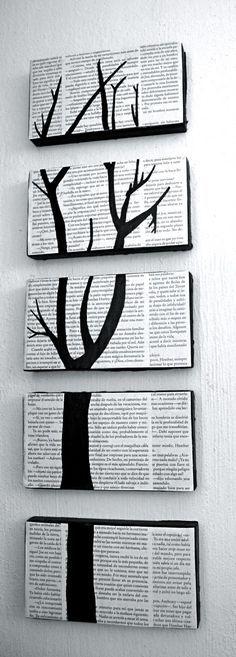 Cuadro hecho con hojas de libros reciclados. Tutorial paso a paso, arte diy, hazlo tu mismo.