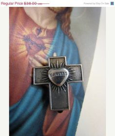 20 Fall Sale ENDS SOON Antique Silver Flaming Sacred by Glamaroni, $30.40