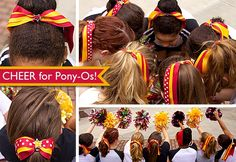 With my son playing football, I'm gonna have to make these CHEERLEADER PONY-O'S for my daughter to wear for the games!