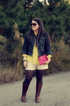 sequin shorts, riding boots, sheer yellow blouse, denim jacket, and white bubble necklace - still being molly