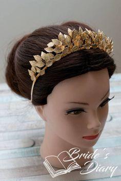 Wedding hair jewelry bridal hair crown golden leaves golden
