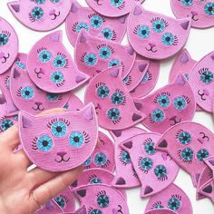 Seems like I can never make enough pink cat charms, so now I have these patches, too!! I love how they came out! I'll add them to my shop early next week.