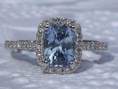 Ceylon Blue Sapphire Engagement Ring, Cushion Sapphire Diamond Halo Engagement Ring, by JuliaBJewelry