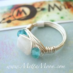 MettaMoon Moonstone Love Ring  Our Top Selling Wire Ring!!! Real Moonstone Cube! Available in all sizes. Made to order!  www.MettaMoon.com