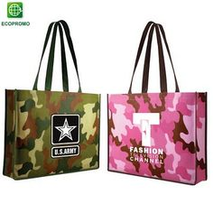 AWESOME CAMO BAG! Put your Team Name on these!! Promotional Non-Woven Camo Tote Bag | Customized Tote Bags | Promotional Tote Bags