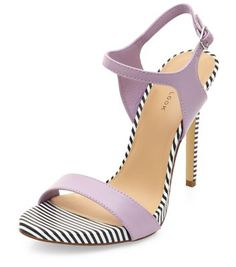 c05034f99e67 Lilac Stripe Trim Ankle Strap Heels