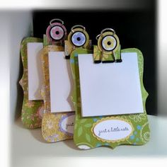 Note holders using the SU Top note die, chipboard, DSP and binder clip Looks like a lot of fun to make, I think I'm going to try making them with my son! He is so crafty!!!!