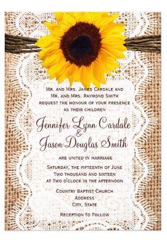 Rustic Burlap Lace Twine Sunflower Wedding Invitations  #rusticwedding #countrywedding #sunflowers