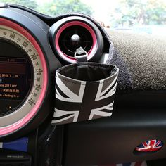 Gray UK Flag Canvas Water resistant Car Trash Holder Sunglasses Pouch Bag for Mini cooper - Carsoda - 1