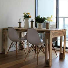 Cheap home decor, diy home decor, wooden pallets, wooden pallet crafts, rec Decor, Furniture, Wooden Pallet Crafts, Diy Table, Palette Table, Dining Table, Scandinavian Style Interior, Pallet Dining Table, Pallet Table