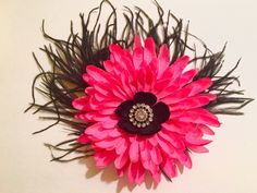 Fancy Dance Costume Hot Pink and Black Feather Flower Fascinator at  my Etsy shop https://www.etsy.com/listing/265435098/hot-pink-and-black-feather-flower