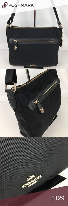 """Coach Top Zip Leather Trim Nylon Crossbody Authentic. Gently used. Good condition inside and out.  In pretty yet practical nylon canvas, this Coach crossbody bag is lightweight, durable and water-resistant. The design is equipped with a convertible strap for hands-free ease, making it the perfect choice for weekends, errands and travel. 11 1/2"""" (L) x 9"""" (H) x 3 1/4 (W). Style 35502. RB596  Thank you for your interest!   PLEASE - NO TRADES / NO LOW BALL OFFERS / NO OFFERS IN COMMENTS - USE…"""