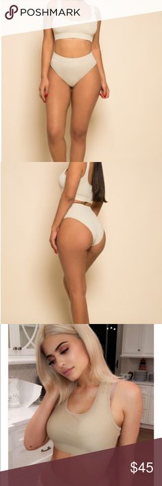 Kylie Jenner Inspired High Waist Swimsuit Set Kinda a cream/tan/khaki colored. Hard to explain exactly. Size xs. Model in photo is wearing a small. Fits true to size xs. No flaws. New with tags. Exactly as photo of models shown. still in packaging so no I cannot model. No trading price is firm Kylie Cosmetics Swim Bikinis