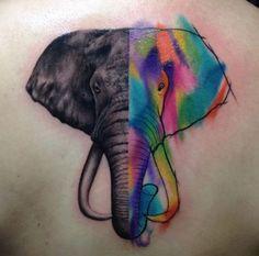 Two-faced elephant tattoo design by Santiago Buriticá