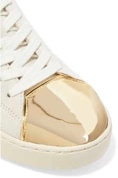 MICHAEL Michael Kors - Frankie Metallic Leather-trimmed Suede Sneakers - Gold