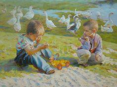"Saatchi Online Artist Victoria Radionova; Painting, ""Little Herdsmen-Dreamers"" #art"