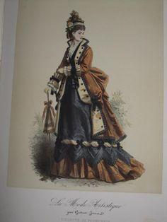 Rare Livre Relié Composé De 24 Gravures Couleurs De Mode Illustrée XIXe 1870, Le Bûcher des Vanités, Proantic