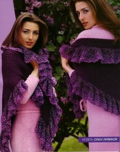 A half granny shawl with rich and fluffy ruffles - how to make simple and easy just gorgeous! - free crochet diagrams