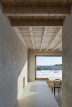 timber floorboard ceiling + exposed joist. Atrium House / Tham & Videgård Arkitekter