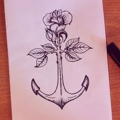 Heavy roots #drawing #anchor #rose #seirene #ink #tattoo