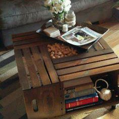 Crate end table.  I would love this as a coffee table in my house!  Obviously, this is a person without young kids.  Mine would probably have stuffed animals and random blocks on display.
