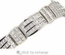 Reebo Channel Set Princess Cut Square Cubic Zirconia Men's Bracelet in 14k white gold by Ziamond Cubic Zirconia Jewelers. #ziamond #cubiczirconia #mens #jewelry #bracelet #14kgold