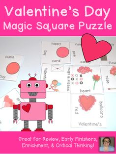 Valentine's Day Magic Square Puzzle FREEBIE - Grades K-2 - {Engaging, Critical Thinking Game!}Magic Square Puzzles make it quick and easy for teachers to provide hands on activities that meet the needs of all students!This fun Magic Square puzzle will allow your students to match Valentines Day words with the corresponding pictures.