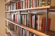 DIY Industrial bookshelves.  Must. Have.
