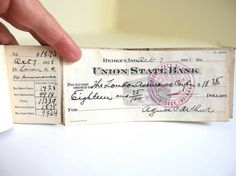Vintage 1920's Checkbook Ledger with 3 Cancelled Checks - for Altered Art, Banking Collectors