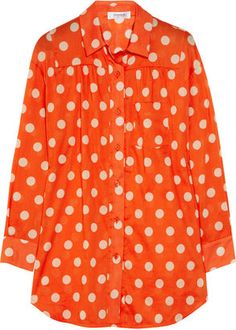 ShopStyle: Sonia by Sonia Rykiel Polka-dot cotton-voile shirt