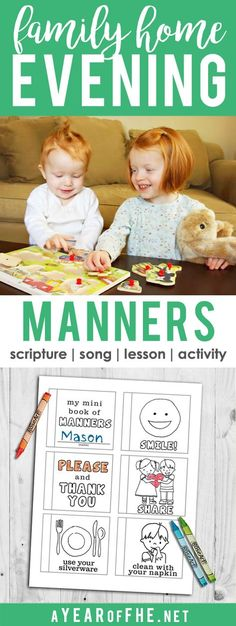 A Year of FHE // A Family Home Evening lesson about the  importance of good manners and how to treat others. Includes a scripture, song, lesson and activites! There's a cute mini coloring book about manners you can download and print for kids!  #manners #coloringpage #lds