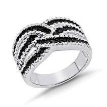 0.25 Carat Black & White Diamond Weave Ring in Sterling Silver