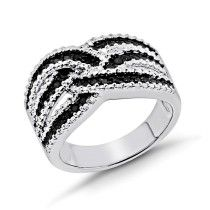 0.25 Carat Black & White Diamond Weave Ring in Sterling Silver