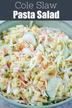 Cole Slaw Pasta Salad - two delicious side dishes in one! Pasta cole slaw mix red onion and sliced cucumber in a creamy sweet and tangy dressing. Perfect for barbecues and potlucks! Cucumber Pasta Salad, Pizza Pasta Salads, Coleslaw Salad, Couscous Salad, Rice Salad, Broccoli Salad, Egg Salad, Sweet Pasta Salads, Fruit Salad
