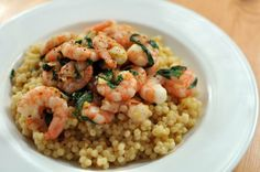 Chili, Lemon, and Basil Shrimp with Israeli Couscous    Quick Dinner for Two