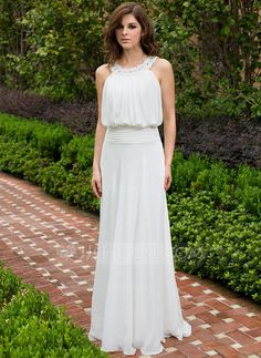 Vestidos princesa/ Formato A Decote redondo Longos De chiffon Vestido de festa com Pregueado Renda Bordado Lantejoulas (017028329)