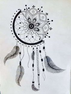 Catches dream drawing - how to make the drawing dream catcher! - Art and Literature Dream Catcher Drawing, Dream Drawing, Dream Catcher Tattoo, Doodle Art Drawing, Mandala Drawing, Mandala Painting, Art Drawings Sketches Simple, Pencil Art Drawings, Artwork Drawings