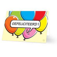Een verjaardagskaart voor een kind van gekleurde ballonnen met daarvoor een tekstwolkje met daarin de tekst ''GEFELICITEERD!'' geschreven. De achtergrondkleur is lichtgeel. De binnenkant van deze verjaardagskaart is helemaal wit, daar kun je zelf nog teksten en foto's of allerlei leuke afbeeldingen aan toevoegen.