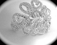 Bridal jewelry - Bracelet - Cuff - Rhinestone -  Brides bracelet - Statement bracelet - Swirl design - Feminine Jewelry -