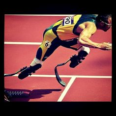 Oscar Pistorius, a double amputee from South Africa, competed with all able-bodied men in the 400m today. His whole life he was told by his family that he isn't disabled, just different. My new inspiration...
