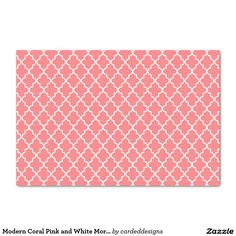 "Modern Coral Pink and White Moroccan Quatrefoil 10"" X 15"" Tissue Paper"