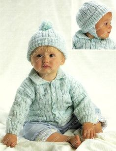PDF Instant Digital Download baby double knit jacket & hat knitting pattern 14/22 inch Pattern information is available from the image above (Yarn, Needles & Sizes) Please click on the white arrow half way up the image on the right hand side A PDF knitting conversion chart is
