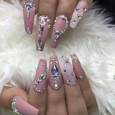 29 must try acrylic nail design 2019 11 Bling Acrylic Nails, Best Acrylic Nails, Rhinestone Nails, Bling Nails, Acrylic Nail Designs, Rhinestone Nail Designs, Nail Crystal Designs, Bling Wedding Nails, Gem Nail Designs