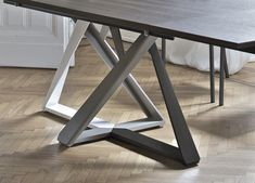 The Millennium Extending dining table has a simple, yet stylish, rectangular table top combined with an angular crafted base creating an ultra-modern silhouette. The table top can be selected in a range of different finishes. Industrial Design Furniture, Metal Furniture, Modern Furniture, Furniture Design, Modern Dining Table, Extendable Dining Table, Round Dining Table, Oak Table Top, Steel Table Legs