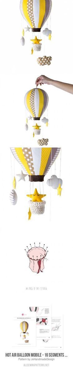 Hot Air Balloon Mobile - 16 Segments - Stars And Clouds Sewing Pattern
